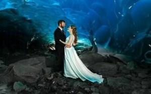 浪漫美cry冰洞婚纱照分享 女人向往的婚纱照